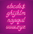 glowing purple neon lowercase script font vector image vector image