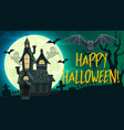halloween ghosts bats haunted house gravestone vector image vector image
