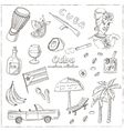 Hand drawn doodle Cuba travel set vector image