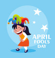 happy girl with joker hat april fools day card vector image vector image