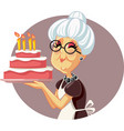 happy granny holding homemade birthday cake vector image