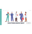 hospital healthcare staff occupation landing page vector image vector image