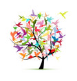 hummingbird tree sketch for your design vector image