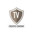 initial letter tv shield design loco concept vector image vector image