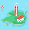 isometric lighthouse with house on island vector image