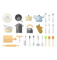 kitchen dishes flat icons isolated vector image vector image