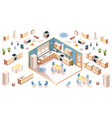 kitchen elements for room design isometric vector image