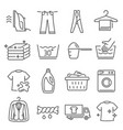 laundry dry cleaning thin line icons set isolated vector image
