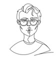 man in eyeglasses posing kiss portrait one line vector image vector image