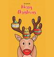 merry christmas card funny reindeer cartoon vector image