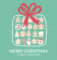 merry christmas gingerbread box greeting card vector image