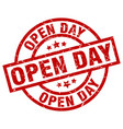 open day round red grunge stamp vector image vector image