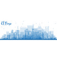 outline el paso skyline with blue buildings vector image vector image