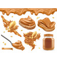 peanut butter 3d realistic icon set vector image
