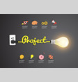 project concept with creative light bulb idea vector image vector image