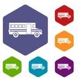 School bus icons set vector image