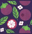 seamless pattern red mangosteen leaves flowers vector image vector image