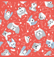 seamless pattern with dogs in santa hat and snow vector image