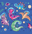 seamless pattern with funny cartoon dinosaur vector image vector image