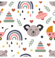seamless pattern with koala and baby icons vector image
