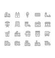 set food truck line icons hot dog sandwich vector image