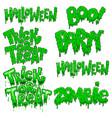 set halloween lettering phrases design element vector image vector image