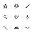 set of 9 editable instrument outline icons vector image vector image