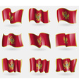 Set of Montenegro flags in the air vector image vector image