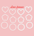 set of white lace frames of various shapes ring vector image vector image