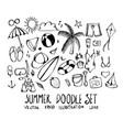 set summer doodle hand drawn sketch line eps10 vector image vector image