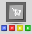 shopping cart icon sign on original five colored vector image vector image