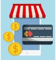 smartphone shopping online store market icon vector image vector image