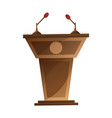 speaker podium with microphones isolated cartoon vector image vector image