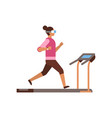 sport woman wear vr glasses running on treadmill vector image