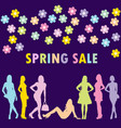 spring sale concept with fashion women silhouettes vector image