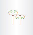 stylized eco plant with leaves icon sign vector image vector image