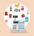 supermarket groceries set icons vector image