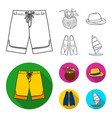 swimming trunks cocktail with coconut panama and vector image vector image
