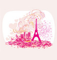 vintage retro eiffel tower abstract card vector image vector image