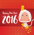 White Monkey 2016 New Year Greeting Card vector image vector image