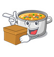 with box cartoon chicken soup pot for dinner vector image