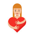 woman hugging the red heart romantic colorful vector image vector image