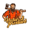 woodcutter lumberjack logo joiner or vector image