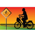young cyclists evening at the signs vector image
