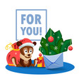 a puppy a bag gifts and an envelope with fir vector image vector image