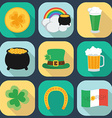 A set of flat icons on St Patricks Day Shadow vector image vector image