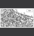 algiers algeria map in black and white color vector image vector image
