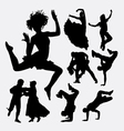 beautiful dance male and female action silhouette vector image vector image