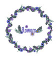 beautiful hand-drawn purple floral wreath vector image vector image