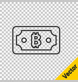 black line cryptocurrency bitcoin icon isolated on vector image vector image